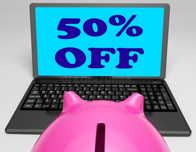 Cinquanta per cento fuori dal computer portatile significano il prezzo di vendita di web illustrazione vettoriale