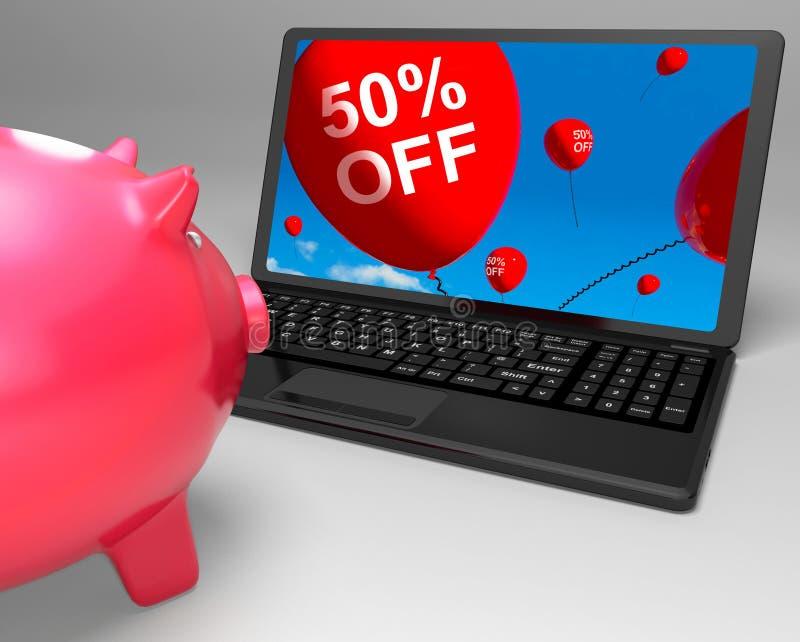 Cinquanta per cento fuori dal computer portatile significano 50 risparmi di metà prezzo illustrazione di stock