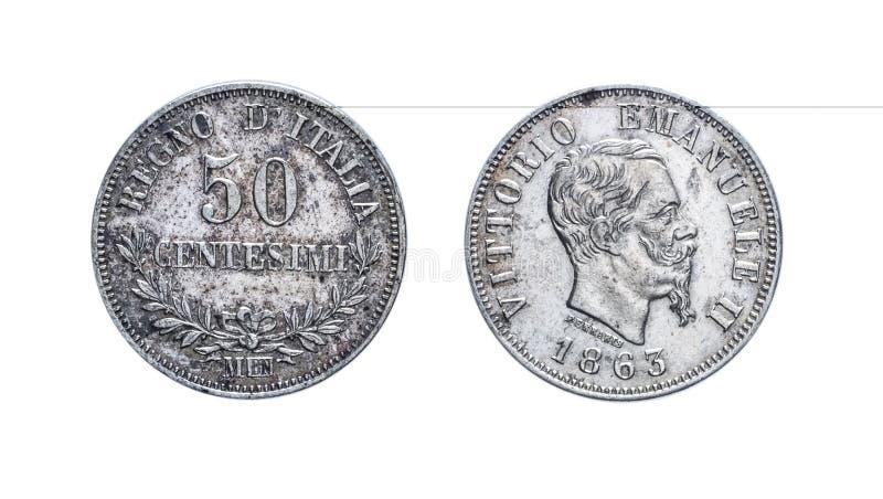 Cinquante 50 Lires de pièce en argent de cents Vittorio Emanuele 1863 II, royaume de l'Italie images libres de droits