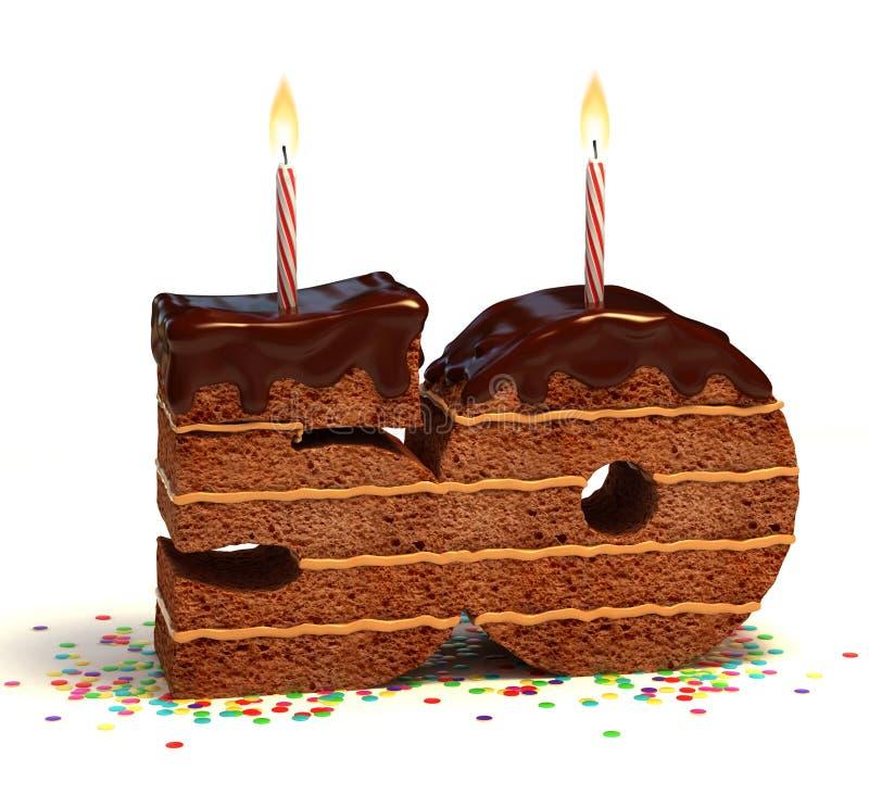 Cinquantesima torta di anniversario o di compleanno royalty illustrazione gratis
