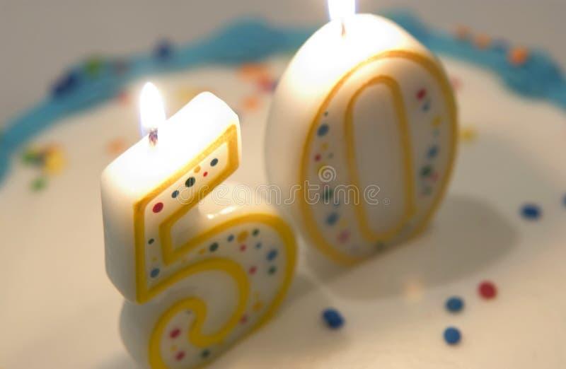 cinquantième gâteau d'anniversaire images stock