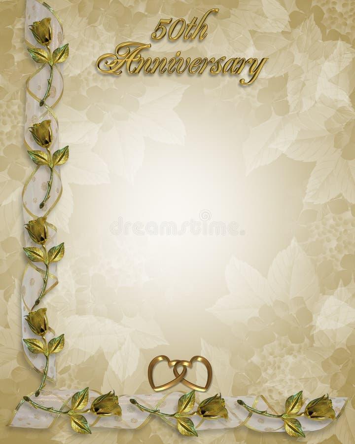 cinquantième roses de cadre d'anniversaire illustration stock