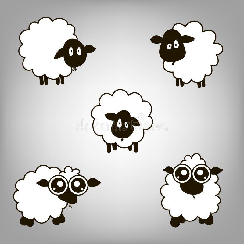 Cinque agnelli illustrazione di stock