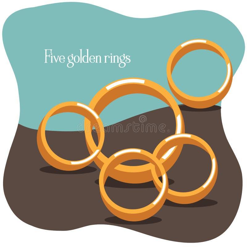 Cinque anelli dorati - dodici giorni del Natale illustrazione vettoriale