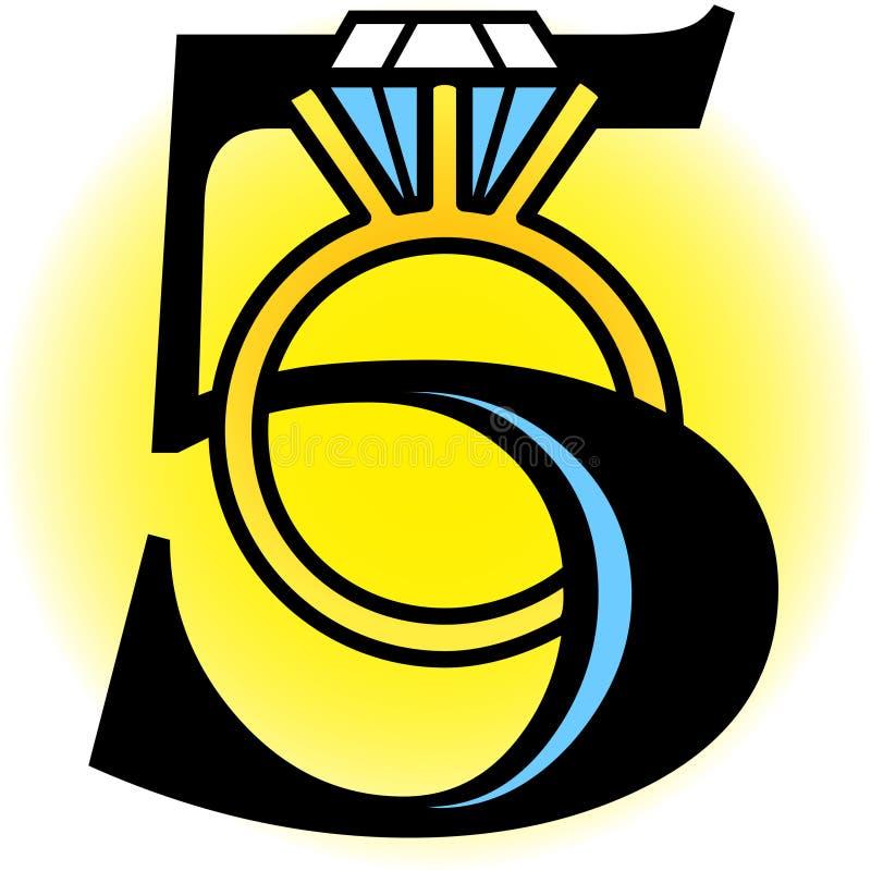 Cinque anelli dorati/ENV illustrazione vettoriale
