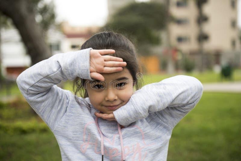 Cinque anni della ragazza lunga dei capelli che posa all'aperto immagini stock libere da diritti