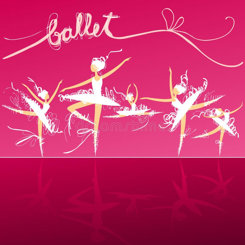 Cinque ballerini di balletto in scena royalty illustrazione gratis