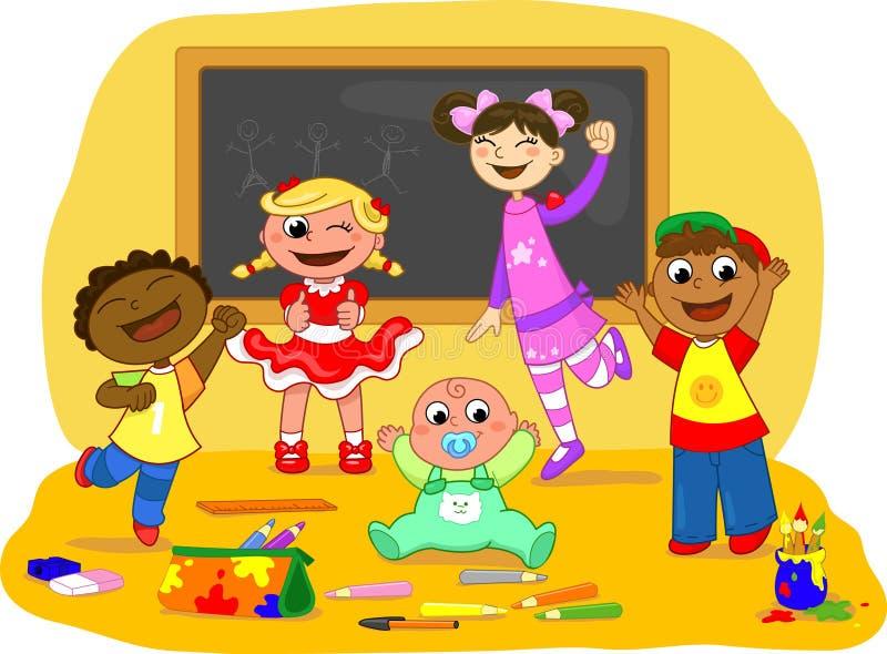 Cinque bambini felici in un codice categoria di banco illustrazione di stock