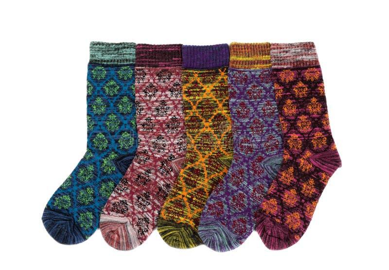 Cinque calzini di inverno immagini stock