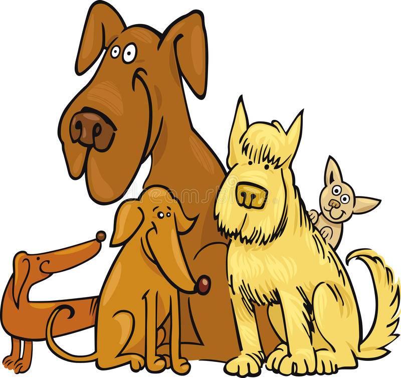 Cinque cani divertenti illustrazione vettoriale