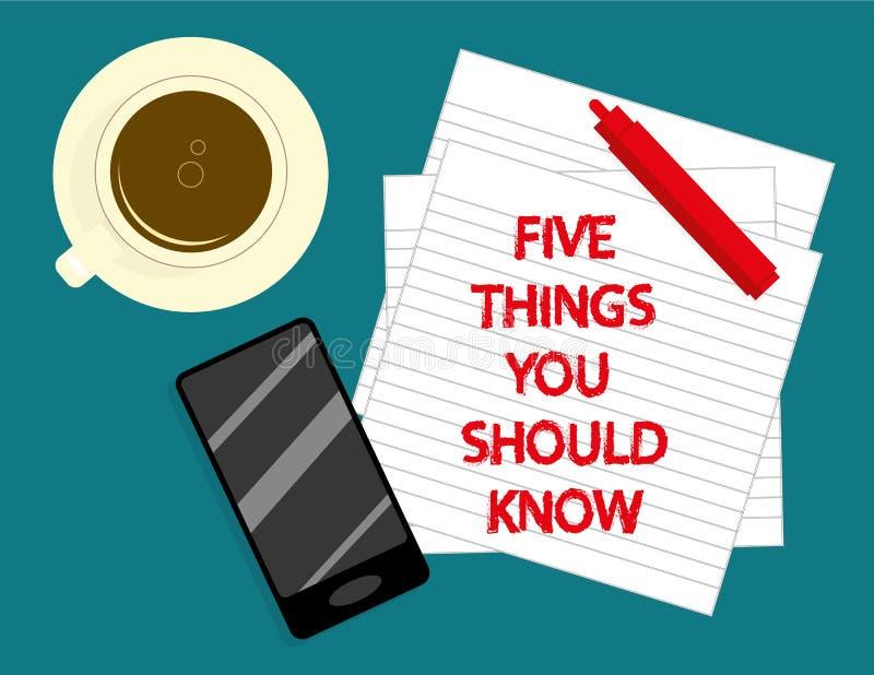 Cinque cose che dovreste conoscere royalty illustrazione gratis