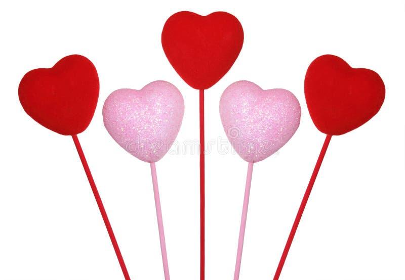 Cinque cuori dei biglietti di S. Valentino fotografia stock libera da diritti