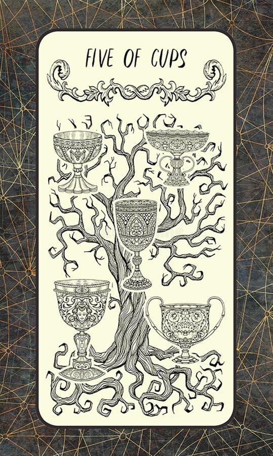 Cinque delle tazze Carta di tarocchi secondaria di arcani illustrazione di stock