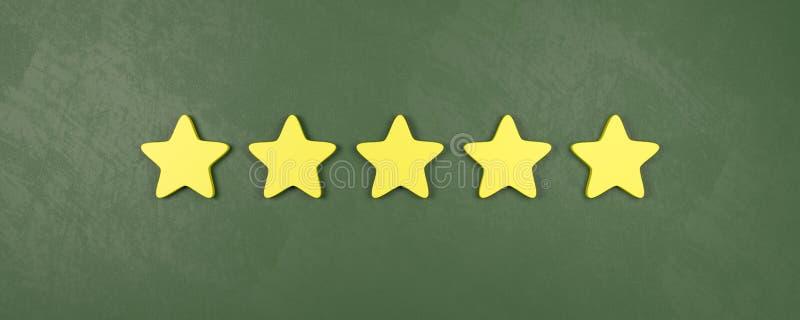 Cinque di cinque stelle che valutano, concetti molto buoni di valutazione illustrazione vettoriale