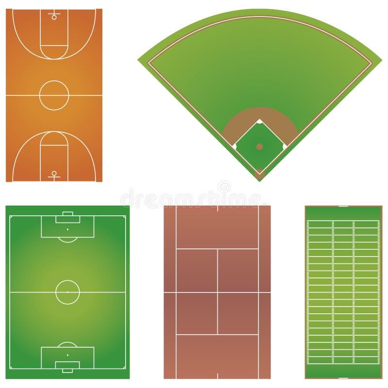 Cinque disposizioni popolari del campo di sport isolate royalty illustrazione gratis