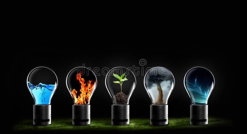 Cinque elementi dello spazio della terra del fuoco dell'acqua dell'aria della natura immagini stock