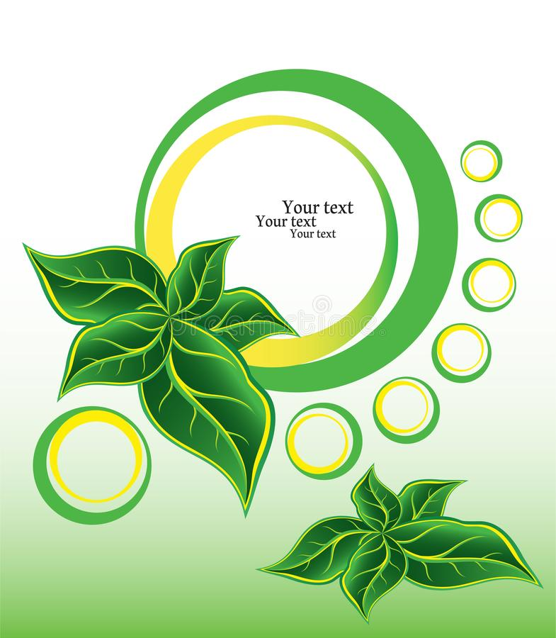 Cinque foglie verdi insieme ai cerchi astratti illustrazione di stock