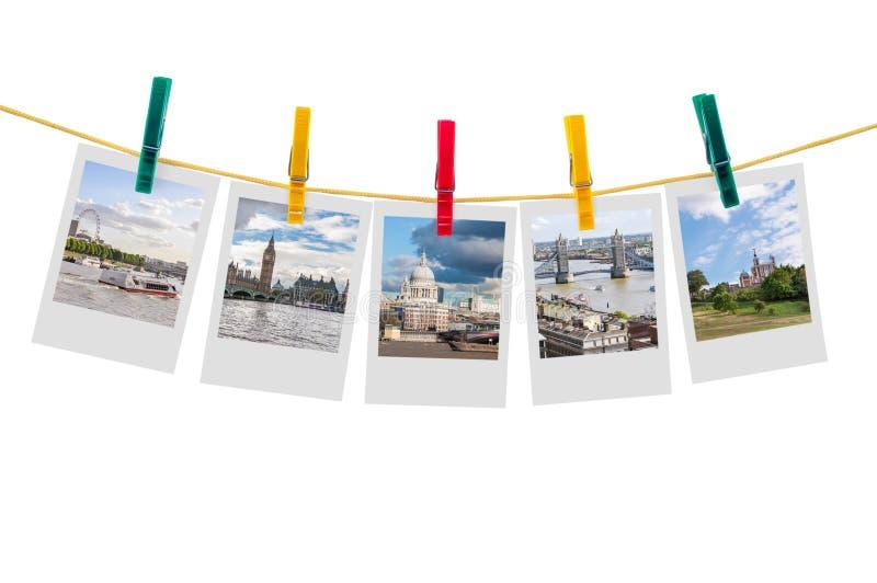 Cinque foto di Londra sulla corda da bucato fotografia stock libera da diritti