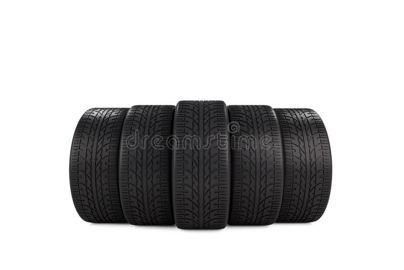 Cinque gomme di gomma nere dell'automobile isolate su fondo bianco immagini stock