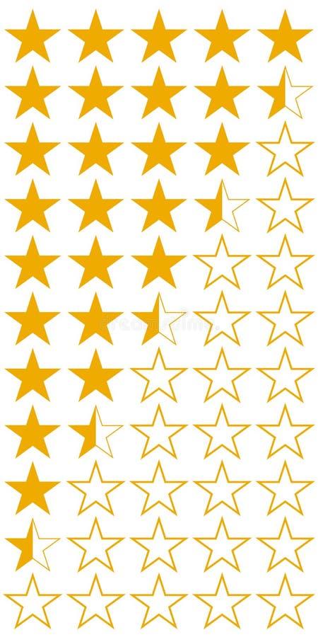 Cinque 5 icone dell'insieme di valutazione di qualità del prodotto delle stelle, stelle piane gialle di vettore con i mezzi hotel illustrazione vettoriale