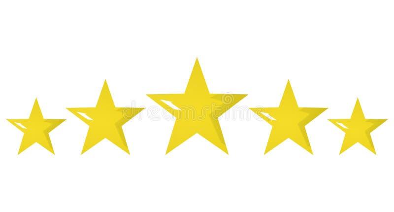 Cinque illustrazione di valutazione dorata della stella 3d su fondo bianco royalty illustrazione gratis