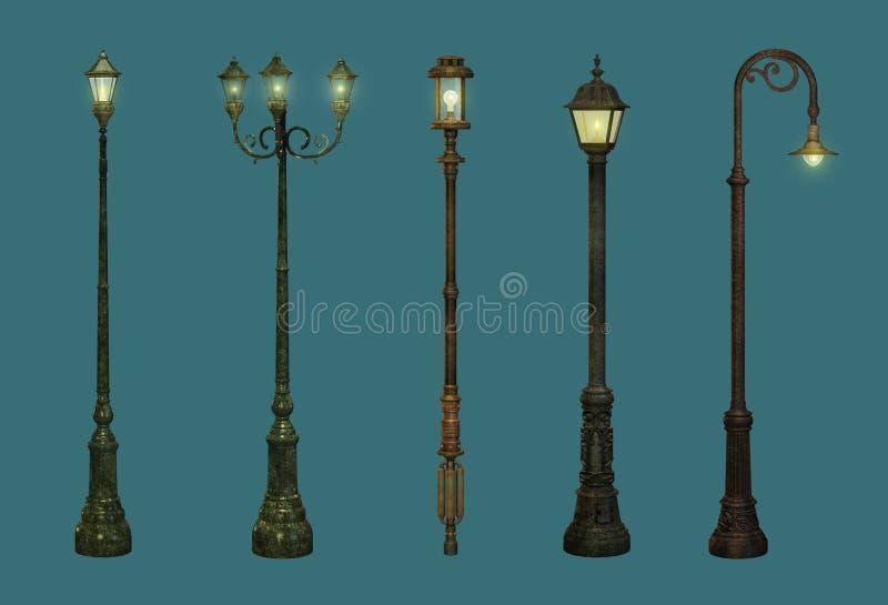 Cinque lampade di via illustrazione vettoriale