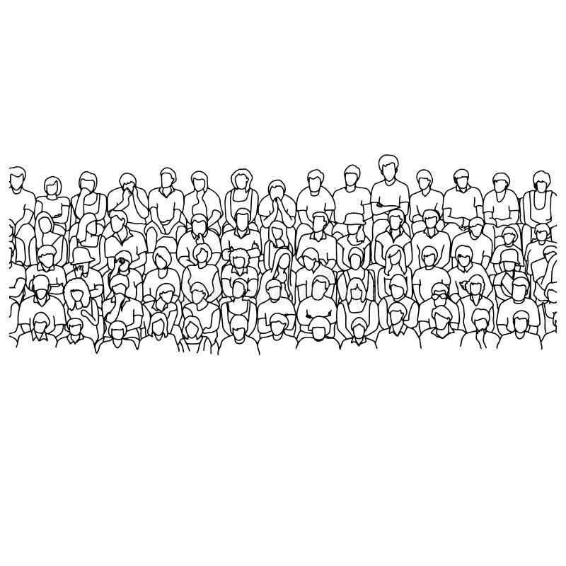 Cinque linee di gente che si siede sullo scarabocchio di schizzo dell'illustrazione di vettore dello stadio disegnato a mano con  illustrazione di stock