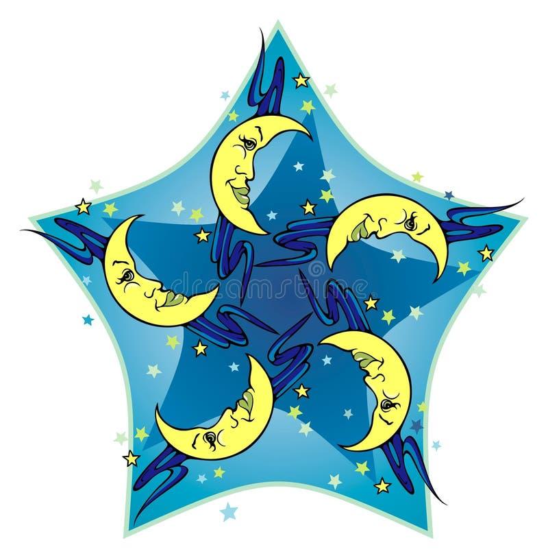 Cinque lune illustrazione vettoriale