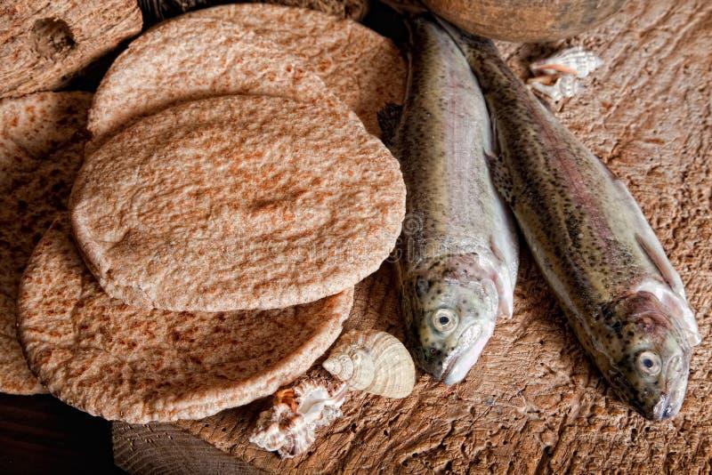 Cinque pagnotte di pane e di due pesci immagine stock