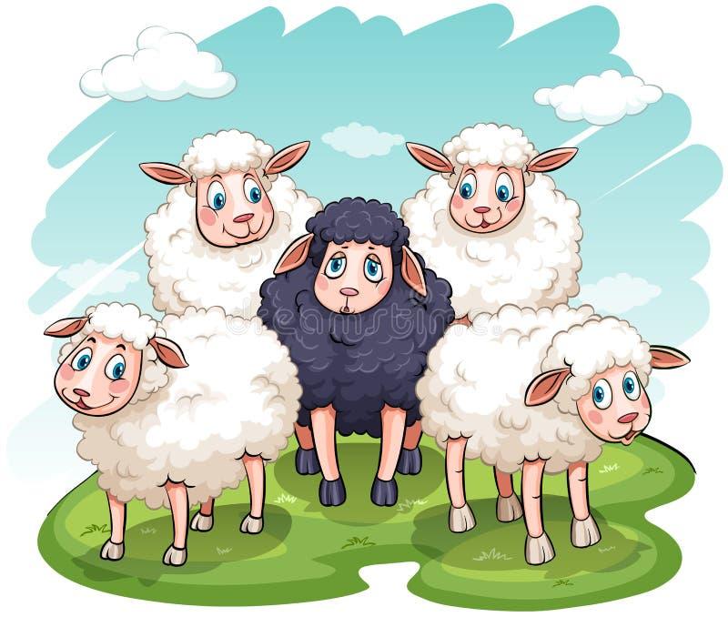 Cinque pecore illustrazione di stock