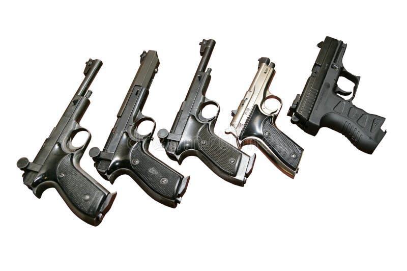 Cinque pistole immagini stock libere da diritti