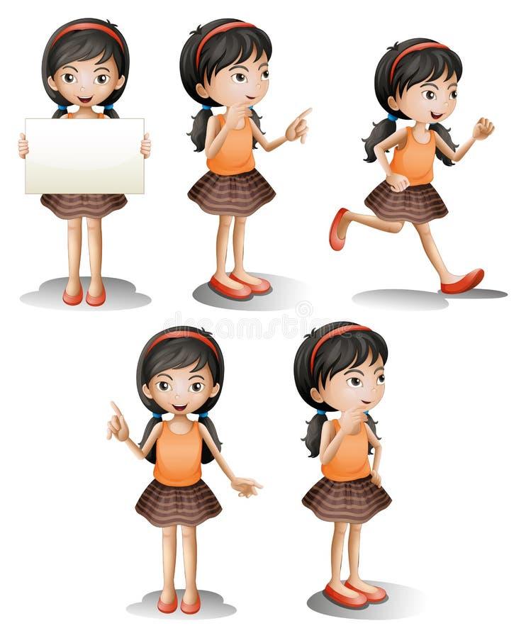 Cinque posizioni differenti di una ragazza illustrazione vettoriale