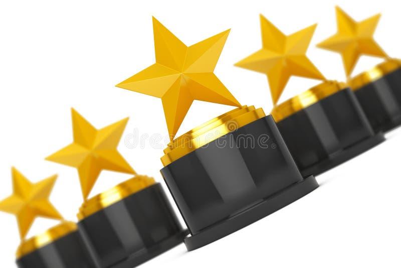 Cinque premi della stella d'oro rappresentazione 3d illustrazione vettoriale