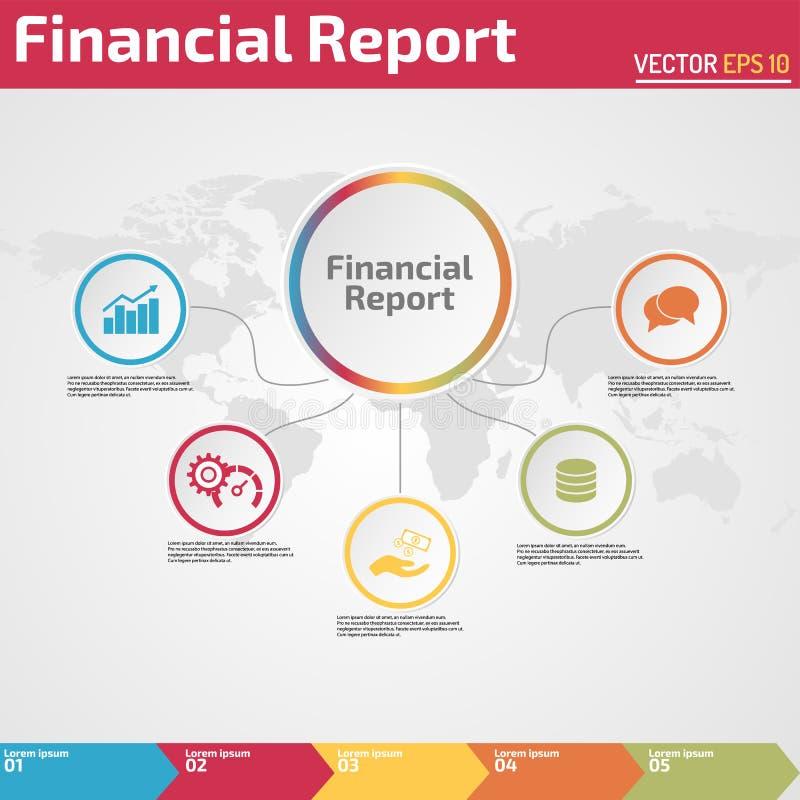 Cinque punti di rapporto finanziario del modello infographic di progettazione illustrazione di stock