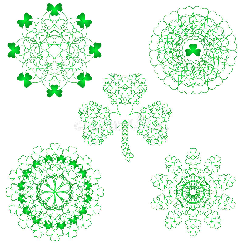 Cinque reticoli dell'acetosella del merletto illustrazione vettoriale