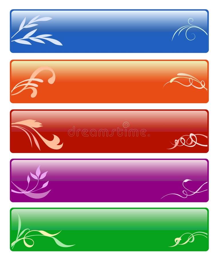 Cinque tasti floreali illustrazione di stock