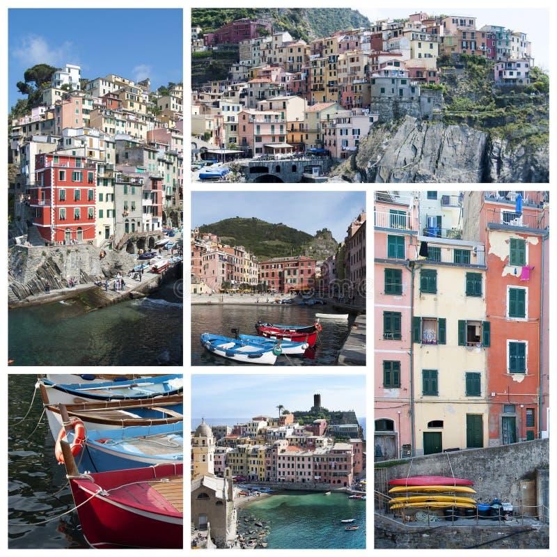 Cinque Terre-collage royalty-vrije stock afbeelding