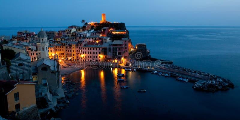 Cinque Terre, Italy at dusk stock photos