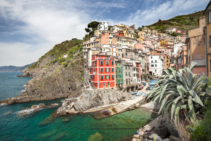 Cinque Terre Riomaggiore stock afbeelding