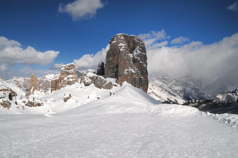Cinque Torri, ` Ampezzo, dolomites Italie de Cortina d photos libres de droits
