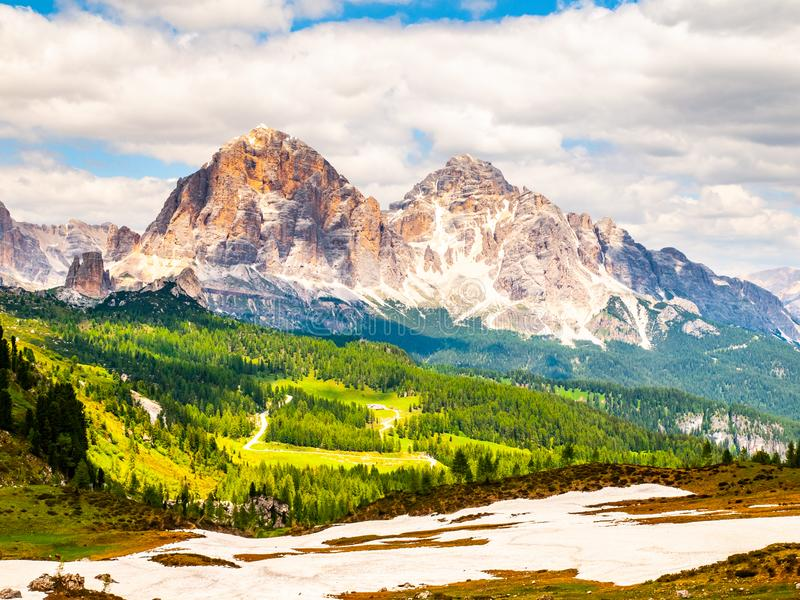 Cinque Torri rock towers and Tofana Mountains on sunny summer day, Dolomites, Italy stock photo
