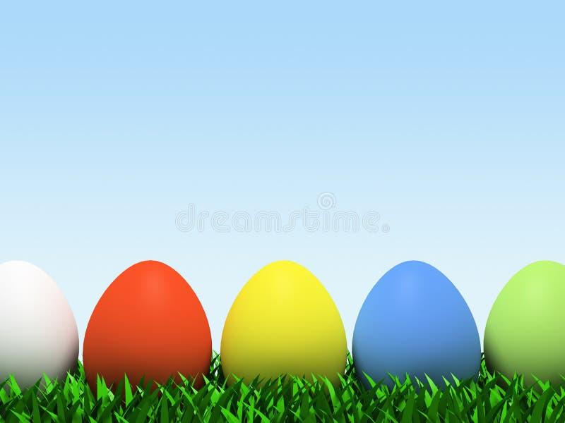 Cinque uova variopinte nella riga isolate su priorità bassa bianca illustrazione vettoriale