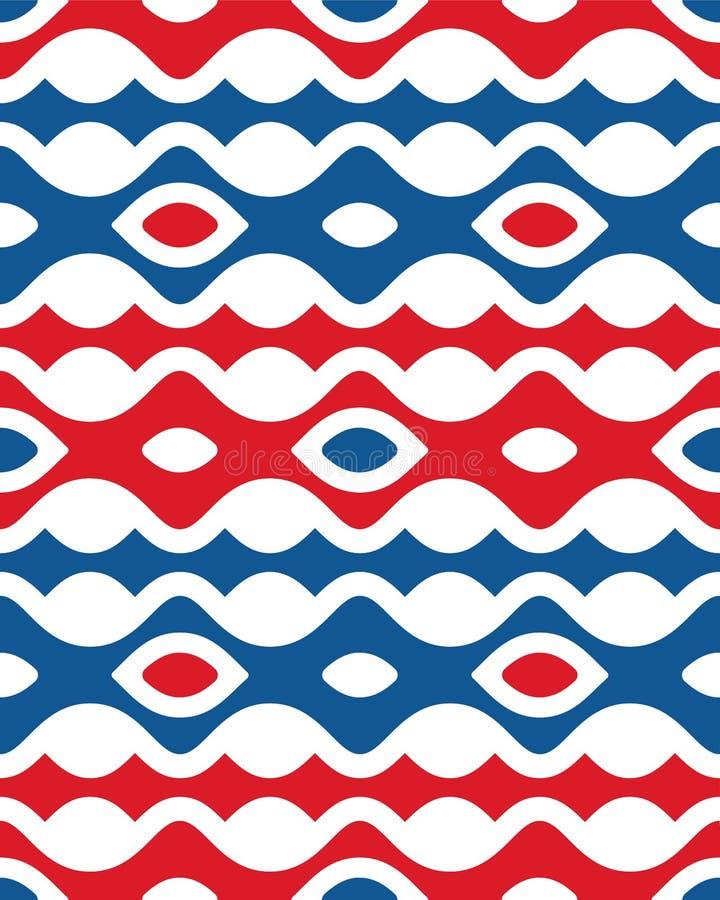 Cinquième modèle sans couture vertical bleu rouge abstrait de forme de vague d'Etpa illustration stock