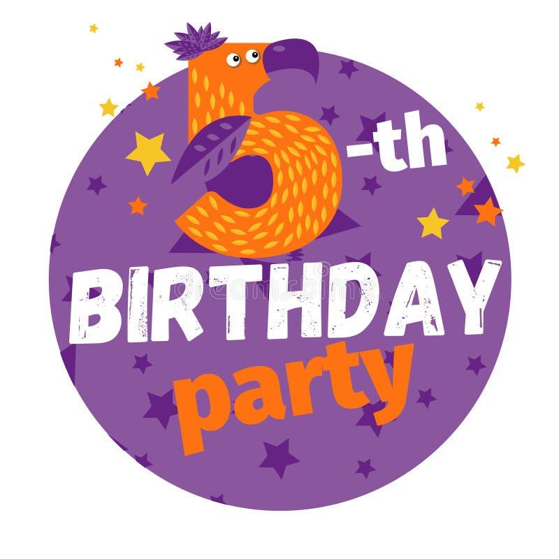 Cinquième ou 5ème carte de voeux ou carte postale de fête d'anniversaire cartoon illustration de vecteur