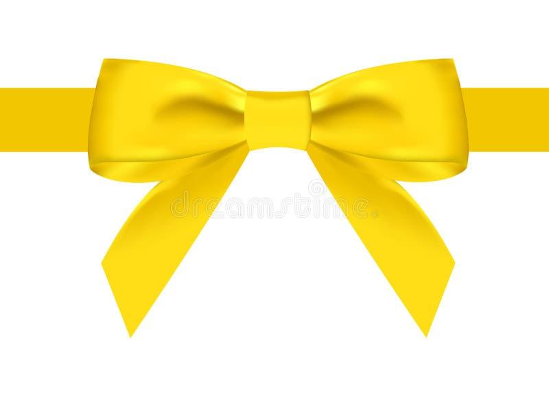 Cinta amarilla de seda con un nudo hermoso en un fondo blanco Puede ser utilizado para el diseño de regalos, postales, enhorabuen ilustración del vector