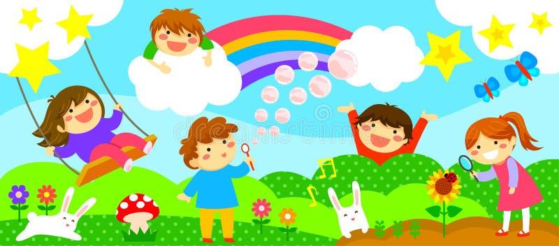 Cinta ancha con los niños felices stock de ilustración