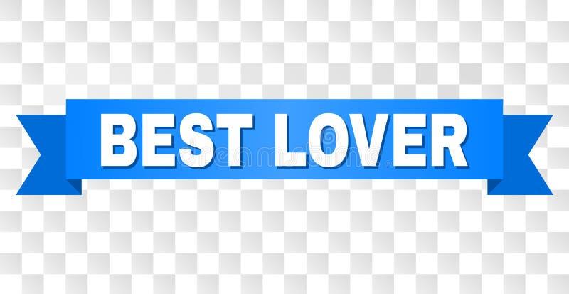 Cinta azul con el MEJOR subtítulo del AMANTE ilustración del vector