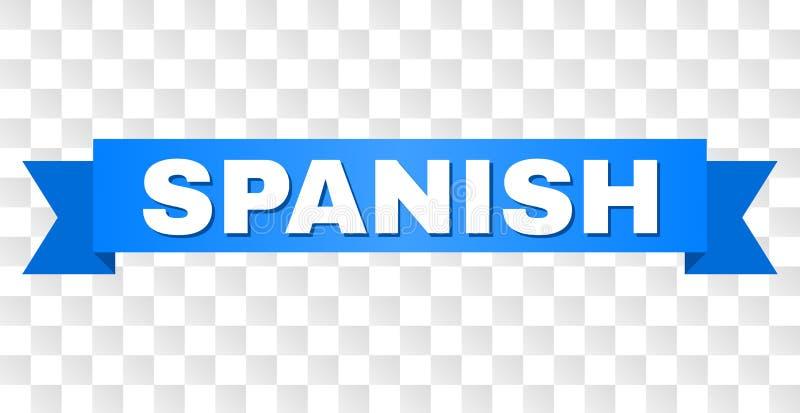 Cinta azul con el texto ESPAÑOL stock de ilustración