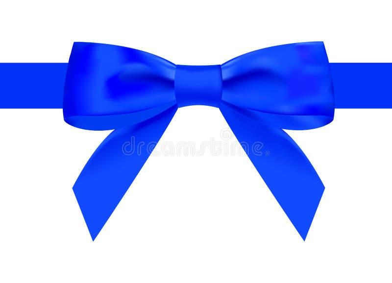 Cinta azul de seda con un nudo hermoso en un fondo blanco Puede ser utilizado para el diseño de regalos, postales, enhorabuena libre illustration