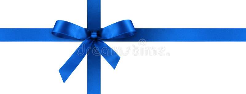 Cinta azul del regalo del satén con el arco decorativo - bandera del panorama imágenes de archivo libres de regalías